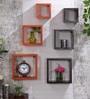 DecorNation Orange & Brown MDF Nesting Square Wall Shelves - Set of 6