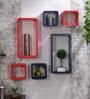 DecorNation Orange & Purple MDF Cube & Rectangle Designer Wall Shelves - Set of 6