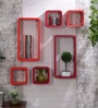 AYMH Orange & Red MDF Cube & Rectangle Designer Wall Shelves - Set of 6