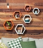 DecorNation Orange & White MDF Hexagon Wall Shelf - Set of 6