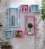 DecorNation Pink & Sky Blue MDF Cube & Rectangle Designer Wall Shelves - Set Of 6