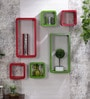 DecorNation Red & Green MDF Cube & Rectangle Designer Wall Shelves - Set of 6