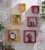 DecorNation Red & Yellow MDF Nesting Square Wall Shelves - Set of 6