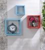 DecorNation Sky Blue & Orange MDF Nesting Square Wall Shelves - Set of 3