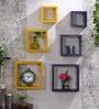 DecorNation Yellow & Purple MDF Nesting Square Wall Shelves - Set of 6