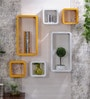 Yellow & White MDF Cube & Rectangle Designer Wall Shelves - Set of 6 by AYMH