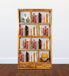 Display Unit Cum Book Shelf In Golden Oak Finish By Wooden Emporium - 1591818