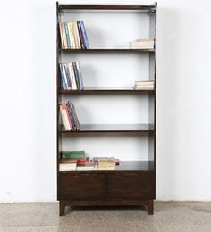 Display Unit Book Shelves With Two Drawers On Bottom In Walnut Finish