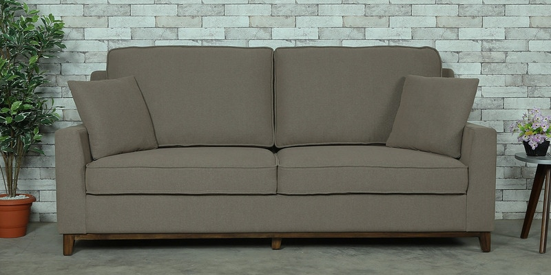 Diego Three Seater Sofa in Sandy Brown Colour by CasaCraft