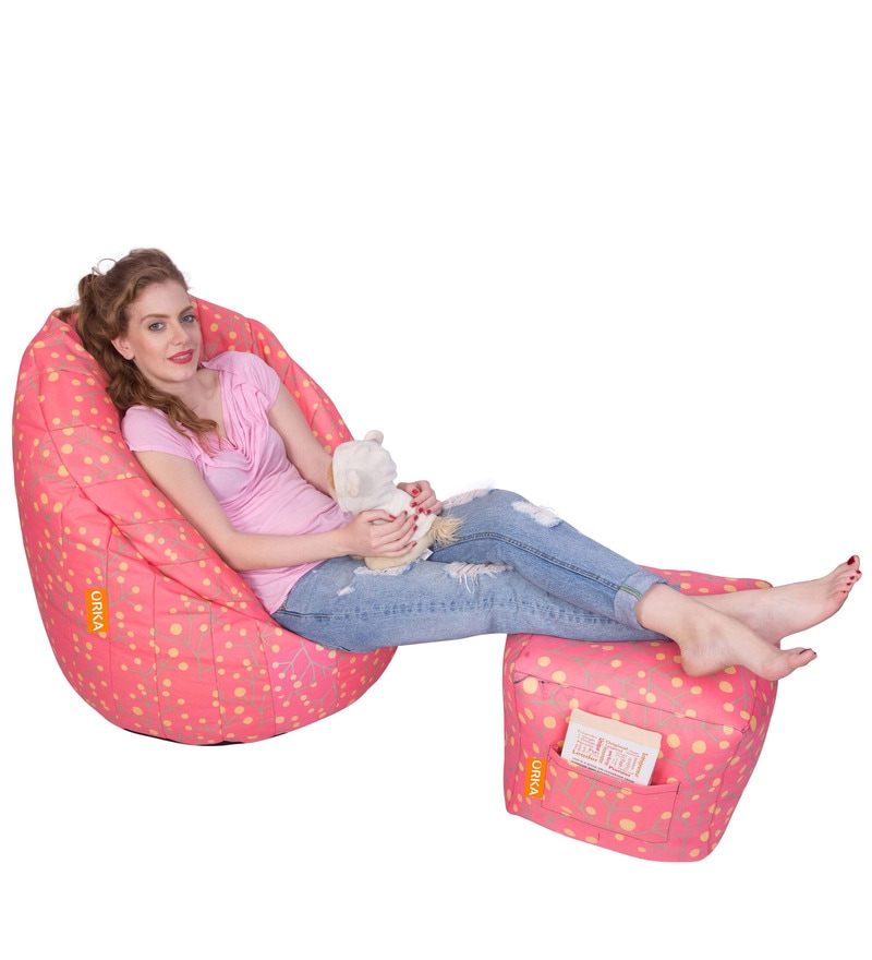 Digital Printed XXXL Bean Bag (Without Beans) Chair Cover & Pouffe Cover in Multicolour by Orka