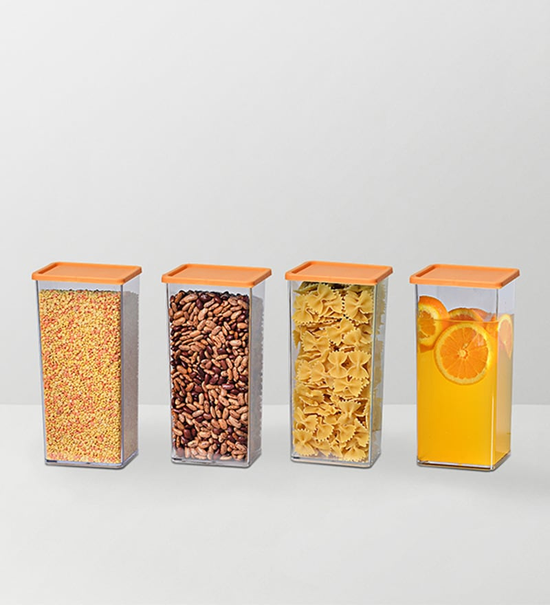 Disha Orange 1225 ML (Each) Storage Container - Set of 4