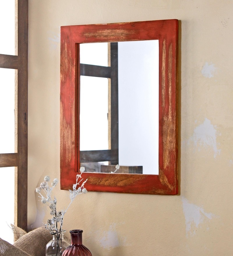 Distress Red Solid Wood & Glass Camrian Mirror by Fabuliv