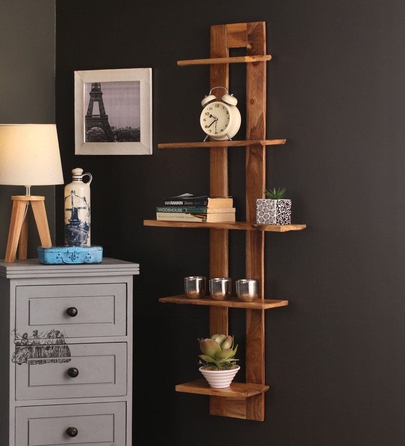 Tokyo Brown Teak Wood 5-tier Wall Shelf by Divine Decor