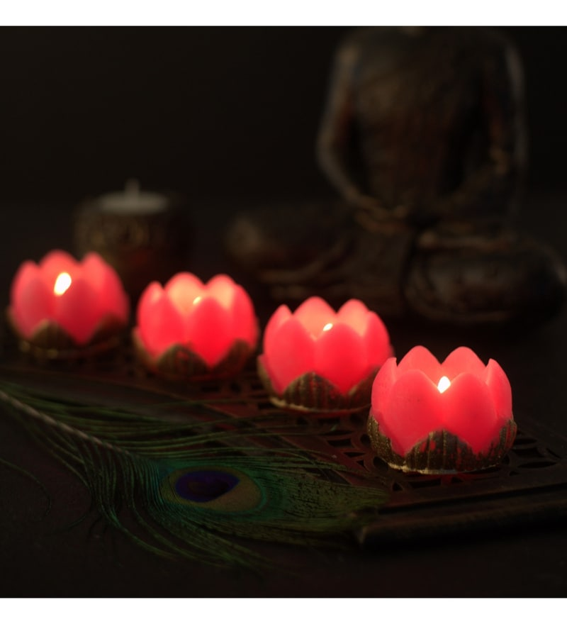 Diwali Gift Pink Lotus Candle by Orlando's Decor