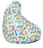 Digital Printed XL Bean Bag Filled with Beans with Colorful Hexagon Design by Can