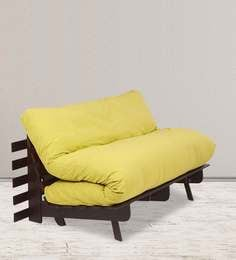 Double Futon Sofa Bed With Mattress In Lemon Yellow Colour
