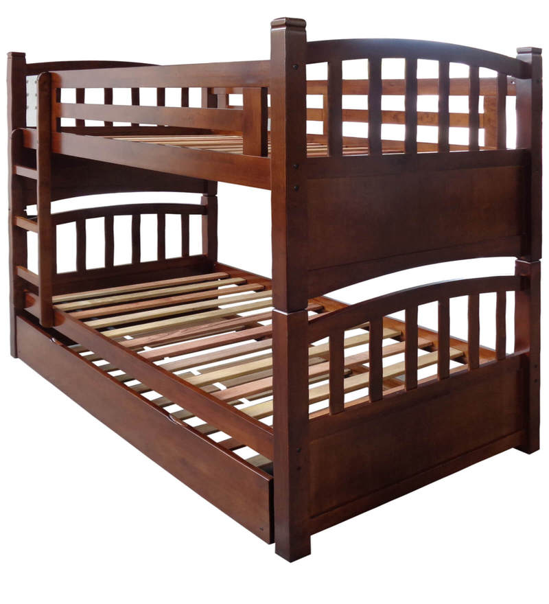 Buy Mclamar Bunk Bed With Trundle In Walnut Finish By