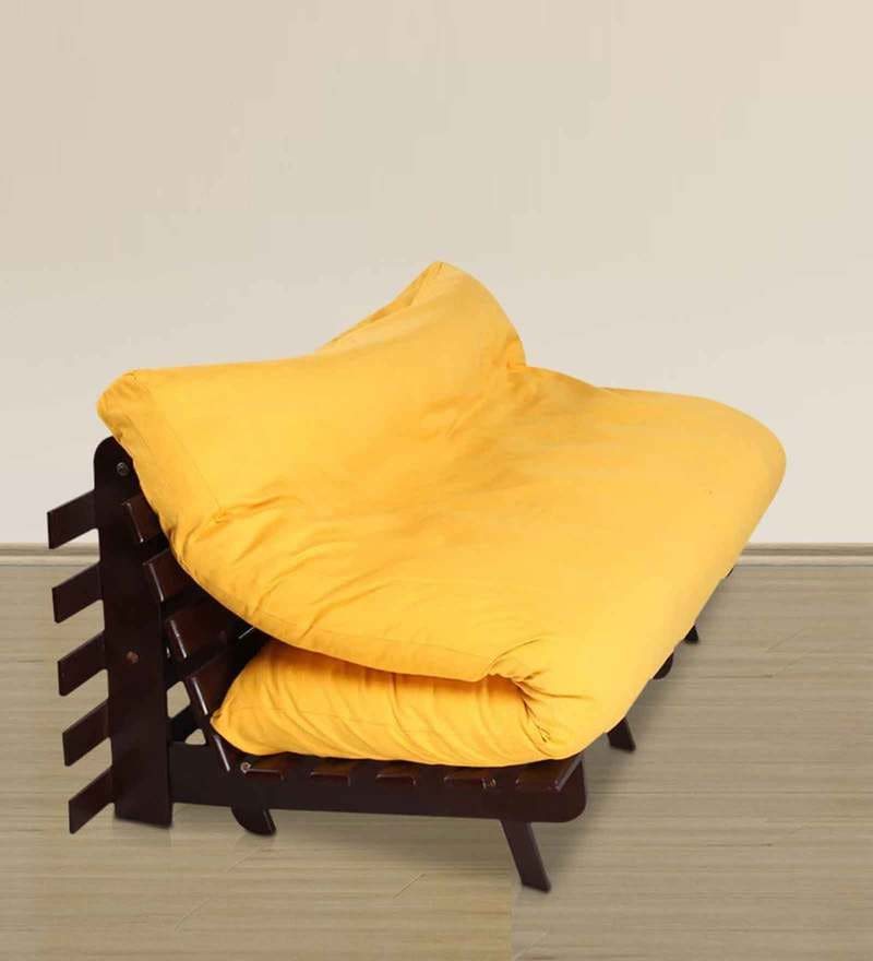 Double Futon Sofa Cum Bed with Mattress in Yellow by Arra