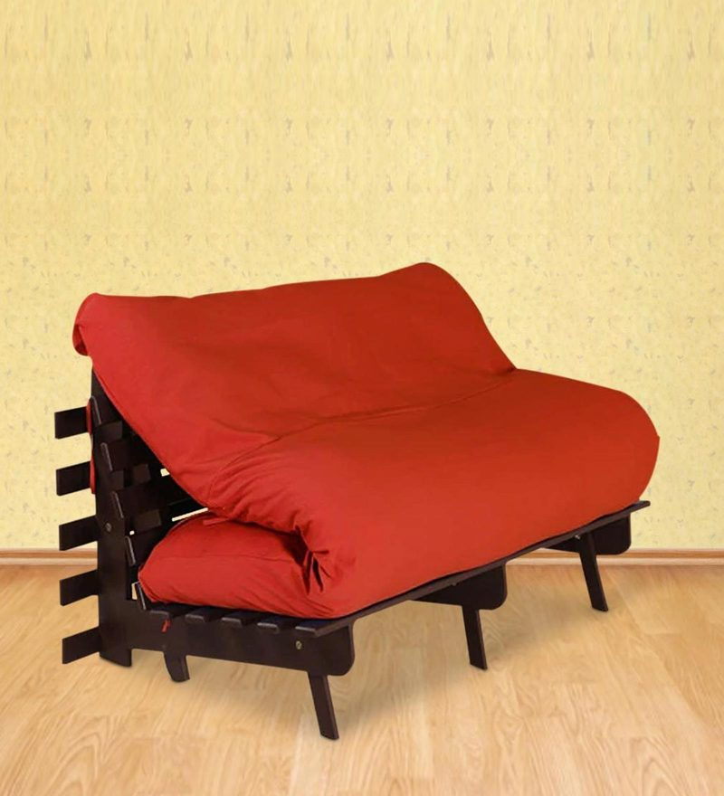 Double Futon with Mattress in Red Colour by Auspicious Home
