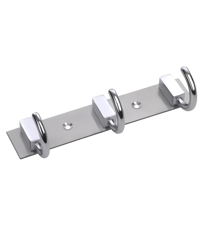 Chrome White Metal Multipurpose Hook Rail by Doyours