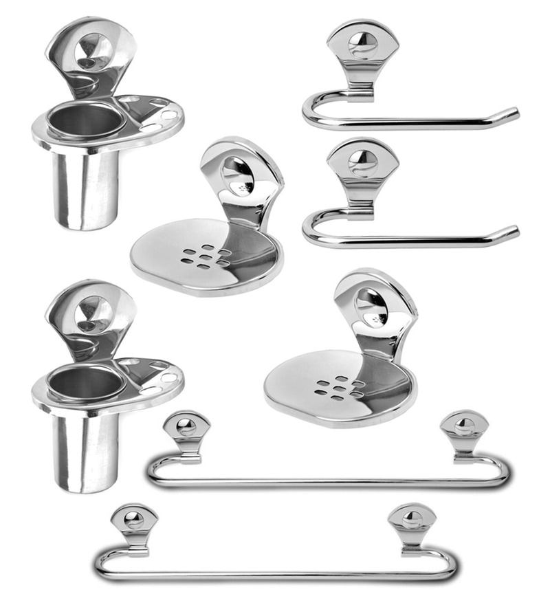 Doyours Glossy Stainless Steel 8-piece Bathroom Accessories Set