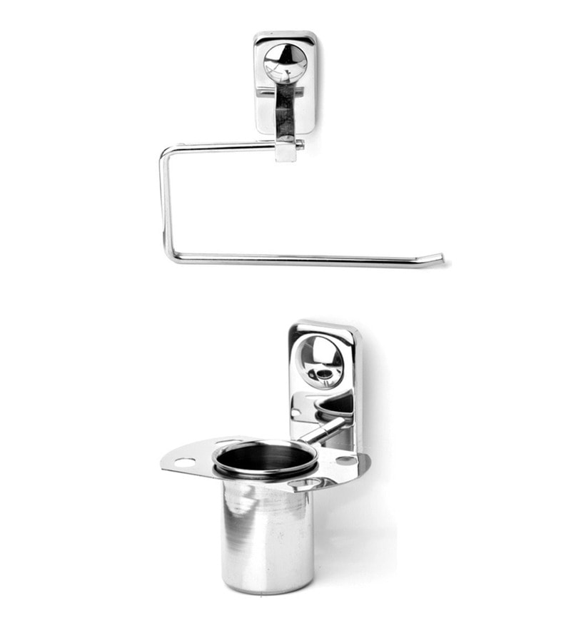 Doyours Glossy Stainless Steel Tooth Brush Holder and Towel Ring Set