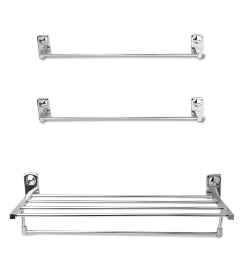 Doyours Glossy Stainless Steel 3-piece Towel Bar and Towel Rack Set