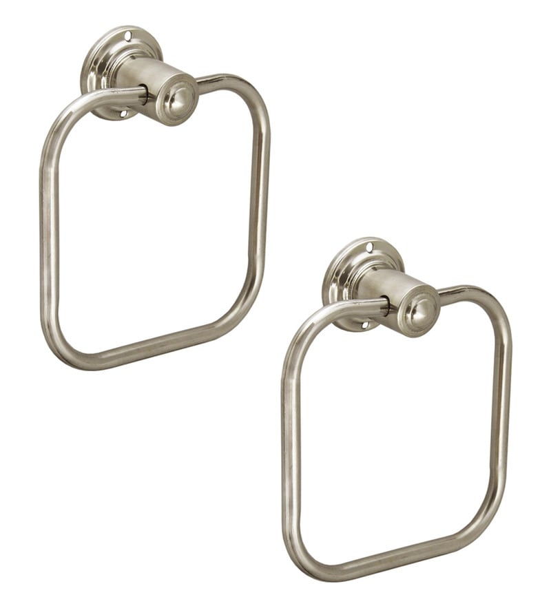 Doyours Square Glossy Steel 5.9 x 5.9 x 1.9 Inch Towel Ring Set