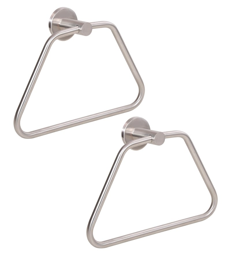 Doyours Triangle Glossy Stainless Steel 8.6 inch Towel Ring Set