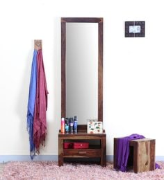 Acropolis Solid Wood Dressing Table With Mirror In Provincial Teak Finish  ...