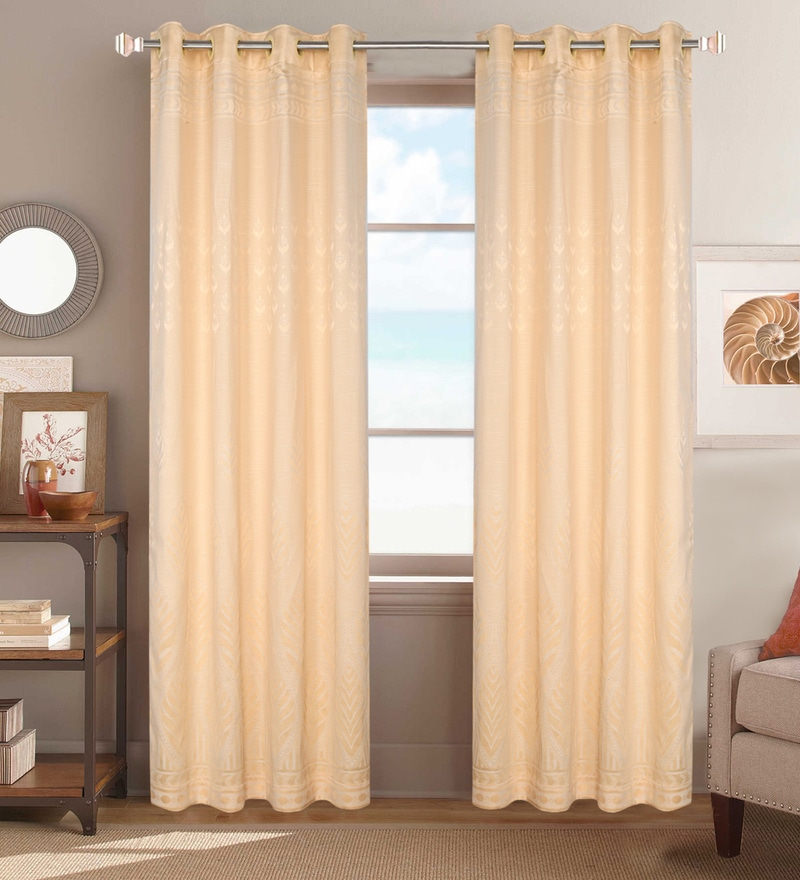 Beige Poly Cotton 84 x 48 Inch Abstract Door Curtains - Set of 2 by Dreamscape
