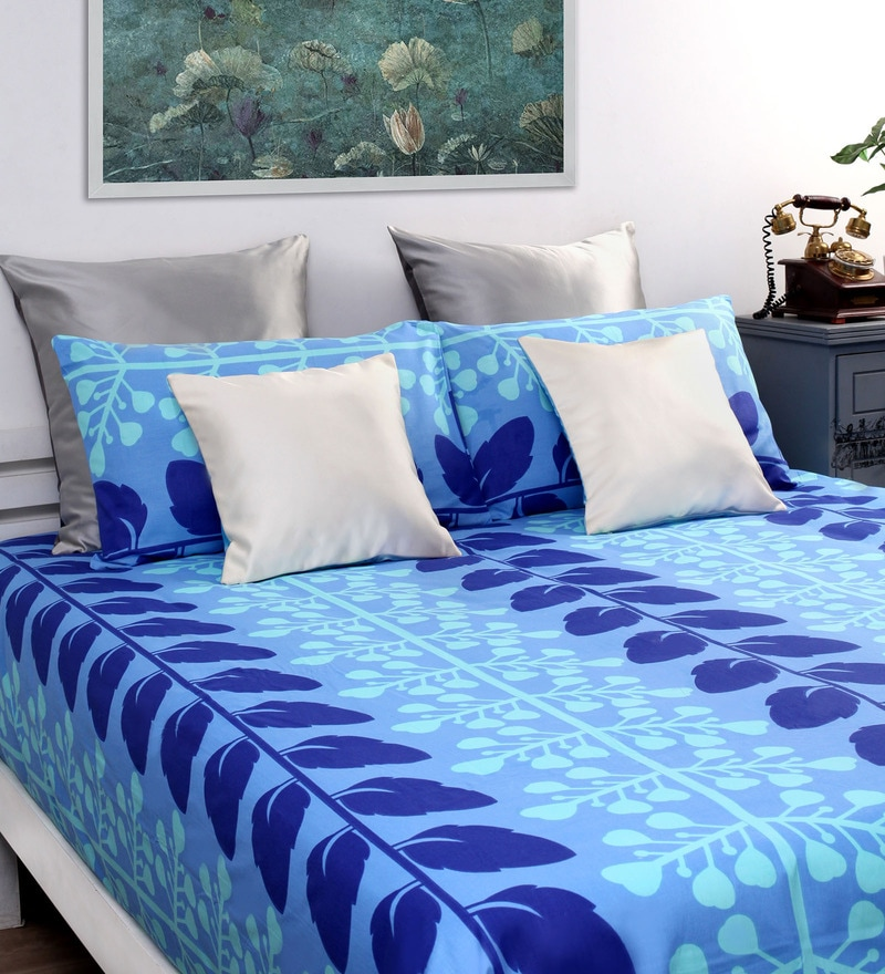 Blue Cotton Floral Queen Bed Sheet (with Pillow Covers) - Set of 3 by Dreamscape