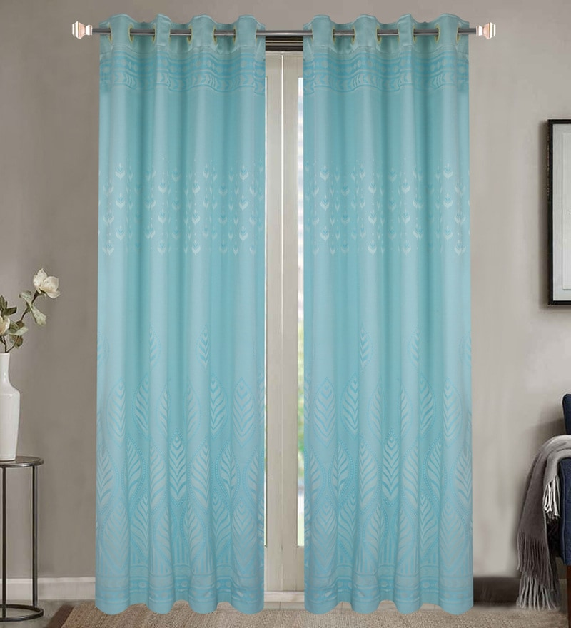 Blue Poly Cotton 84 x 48 Inch Door Curtains - Set of 2 by Dreamscape