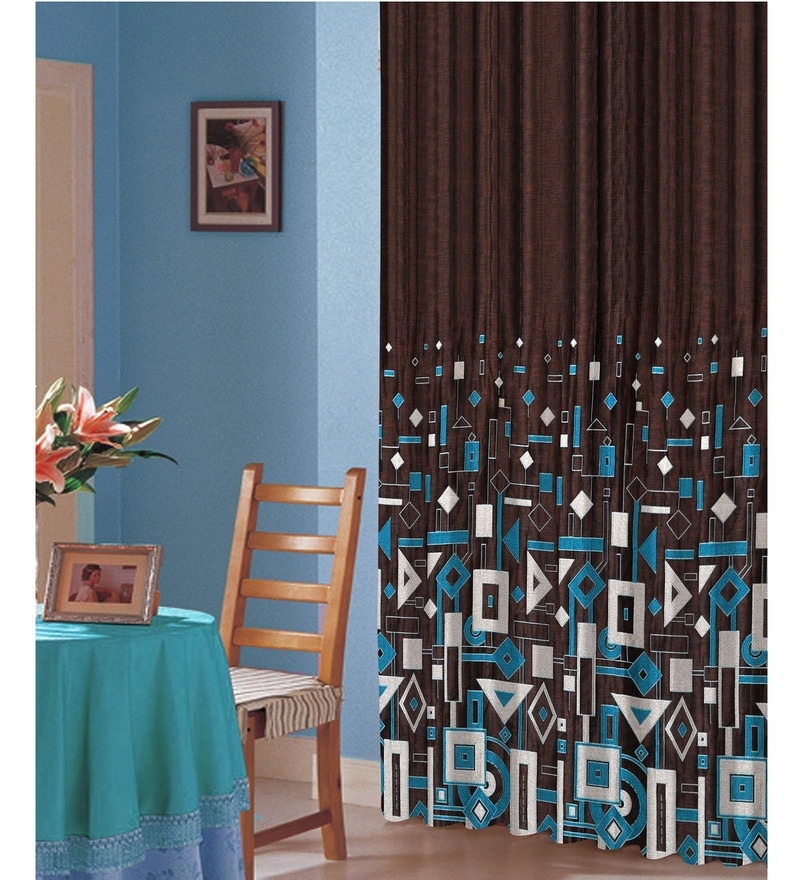Blue Polyester 84 x 47 Inch Abstract Eyelet Door Curtains - Set of 2 by Dreamscape
