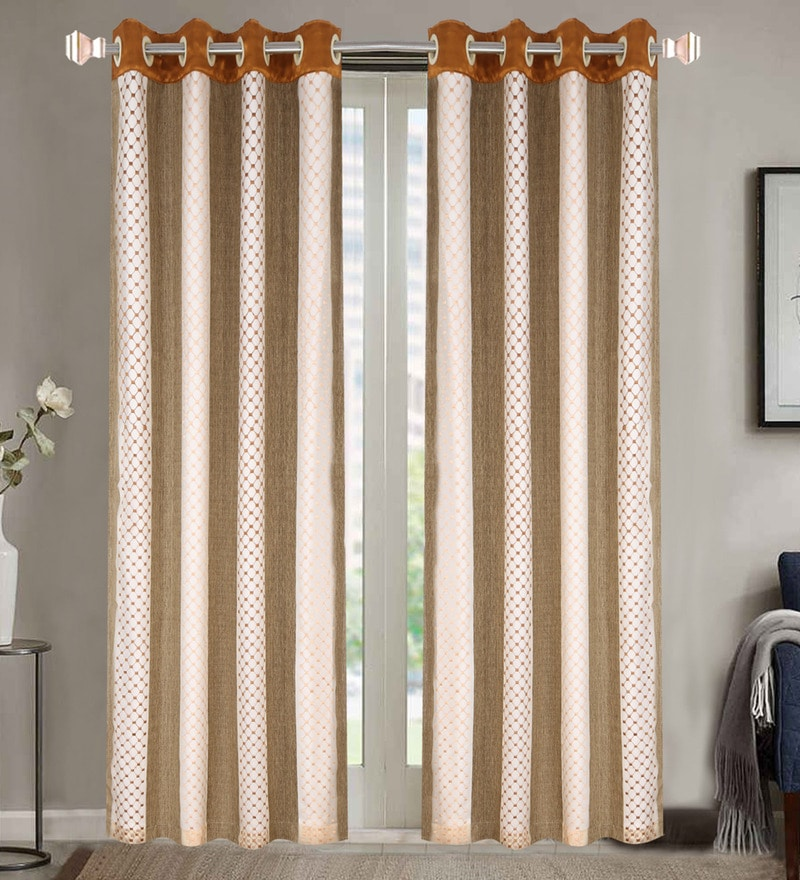 Brown Poly Cotton 84 x 48 Inch Door Curtains - Set of 2 by Dreamscape