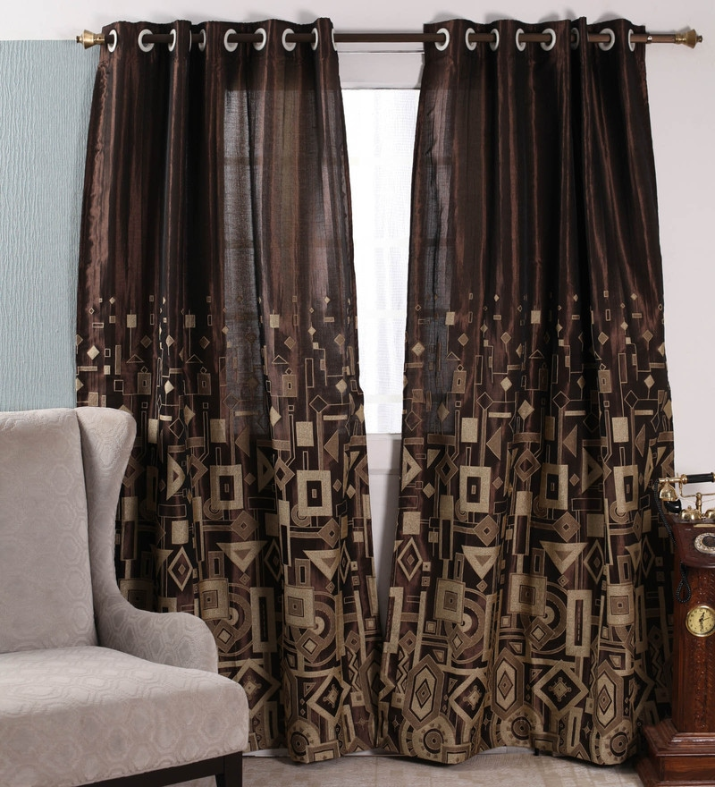 Coffee Polyester 84 x 47 Inch Abstract Eyelet Door Curtains - Set of 2 by Dreamscape