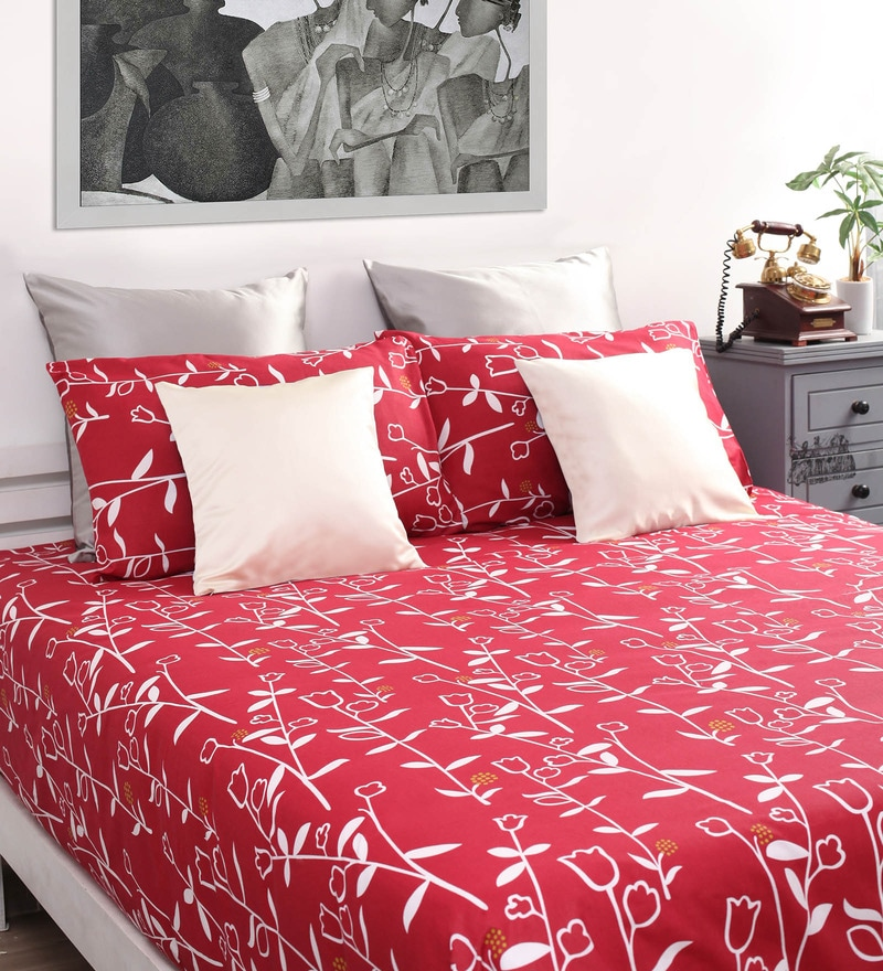 Red & White Floral Queen Bed Sheet (with 2 Pillow Covers)-Set of 3 by Dreamscape