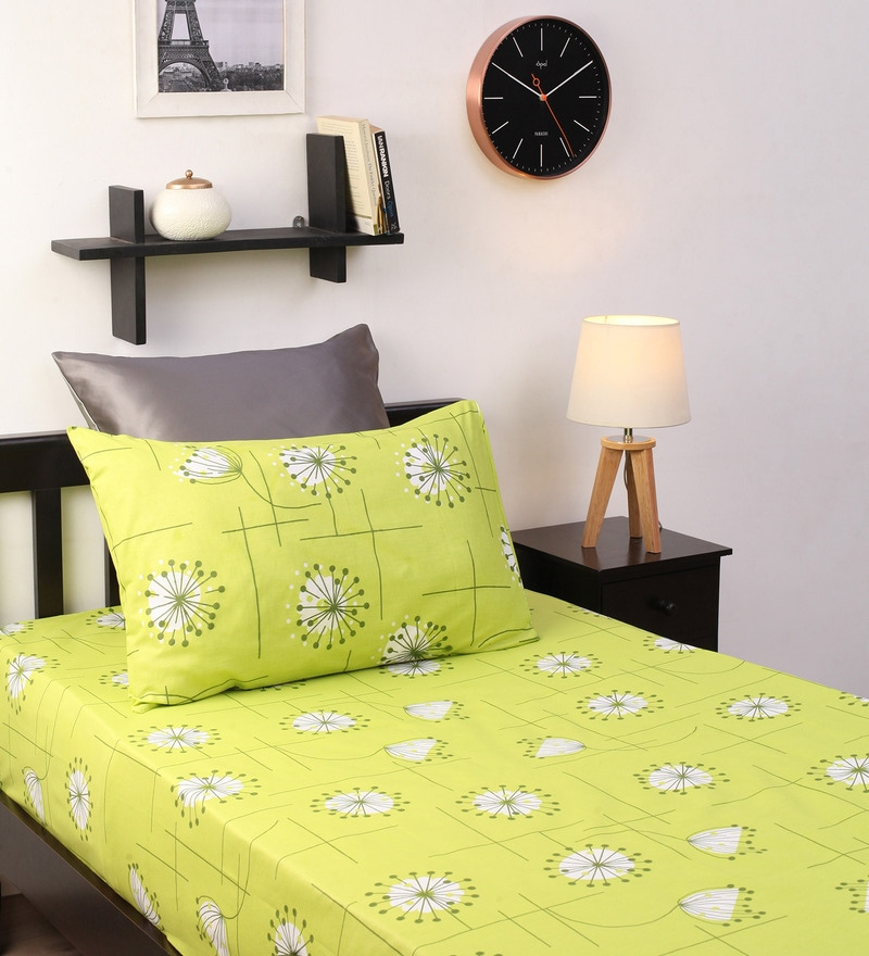 Green Cotton Floral Single Bed Sheet (with Pillow Cover) - Set of 2 by Dreamscape