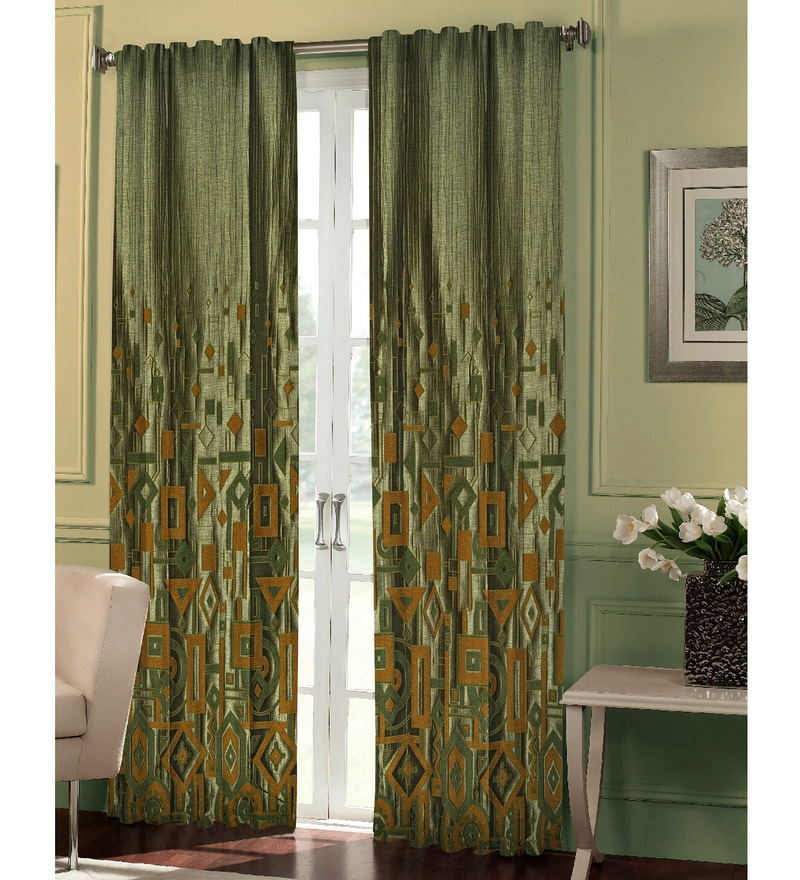 Dreamscape Green Polyester Geometric 84x48 INCH Eyelet Door Curtain