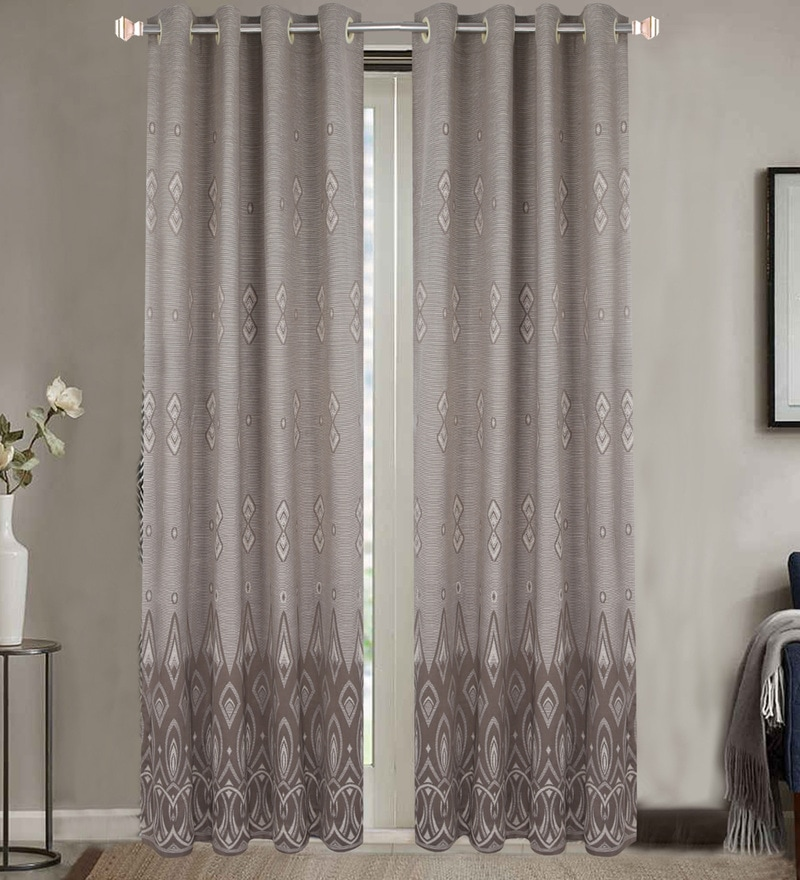 Grey Poly Cotton 84 x 48 Inch Door Curtains - Set of 2 by Dreamscape