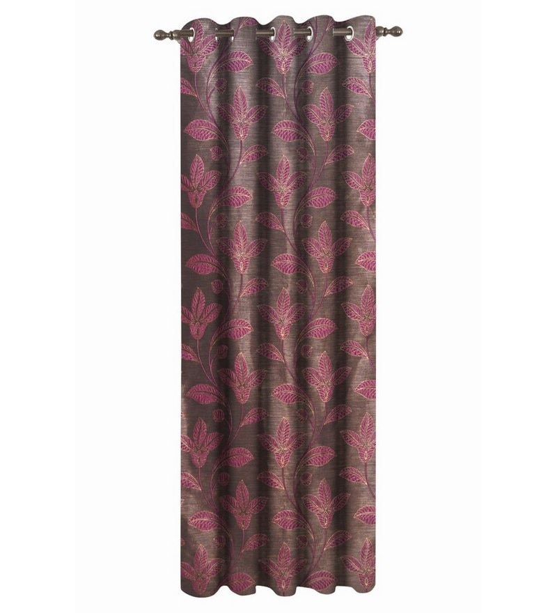 Dreamscape Pink Polyester Floral 84x48 INCH Eyelet Door Curtain