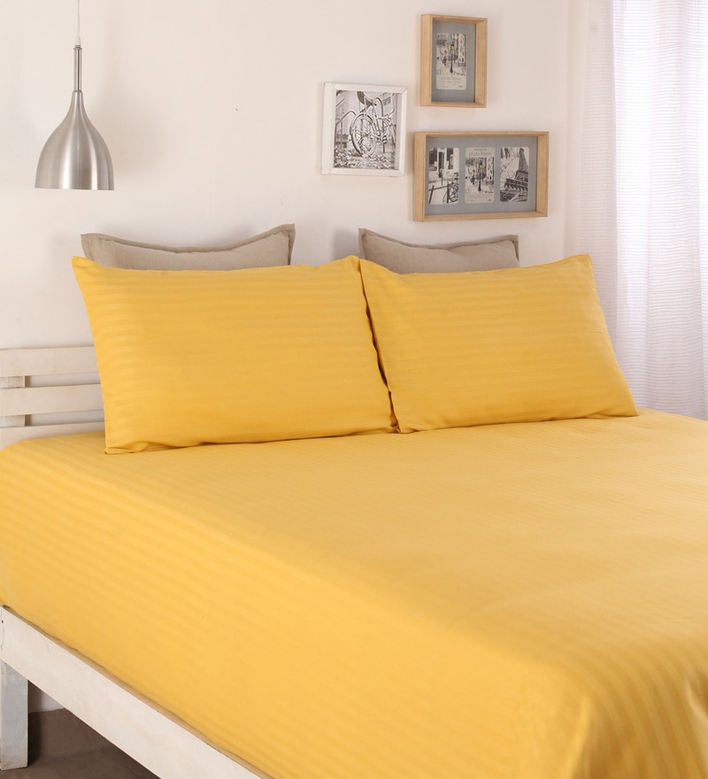 Yellow Cotton Queen Size Bed Sheet - Set of 3 by Dreamscape