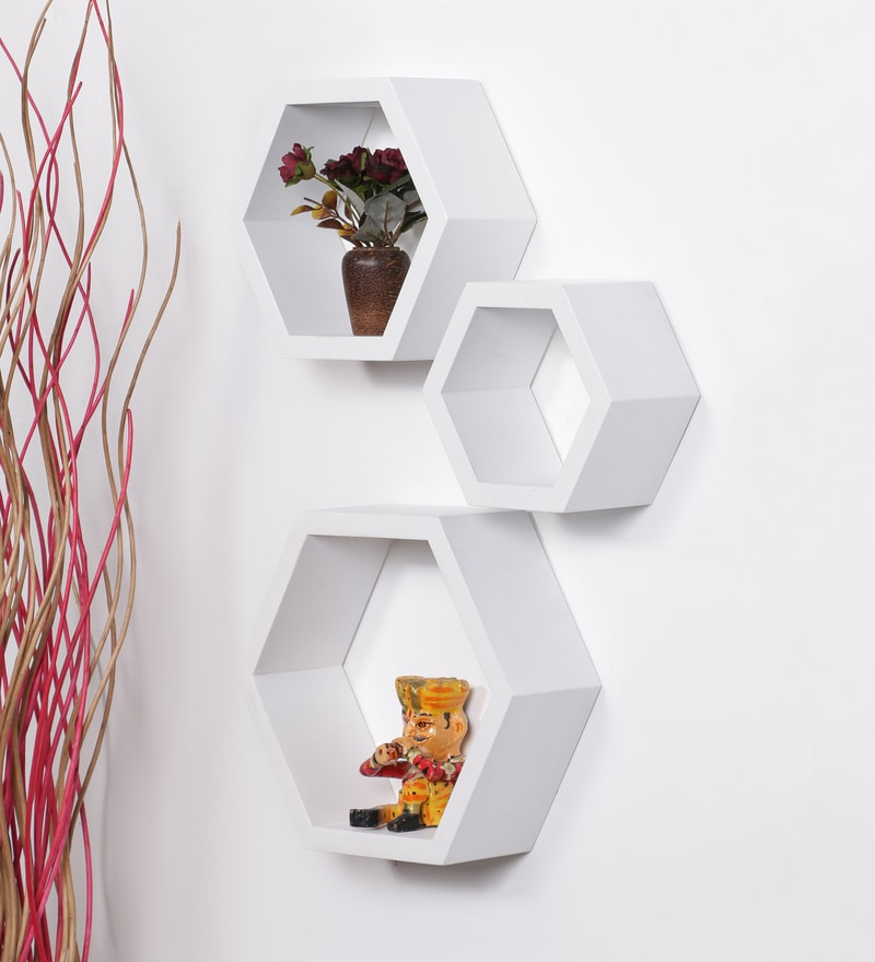 White MDF Hexagon Shape Wall Shelf - Set of 3 by DriftingWood