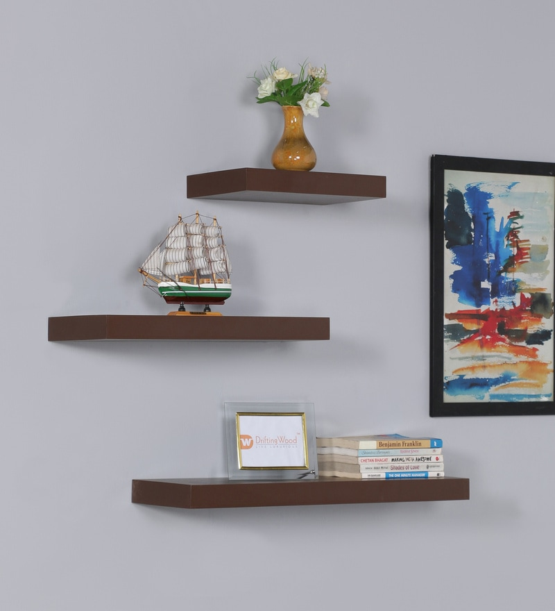 Walnut MDF Multi Sized Floating Wall Shelf - Set of 3 by DriftingWood