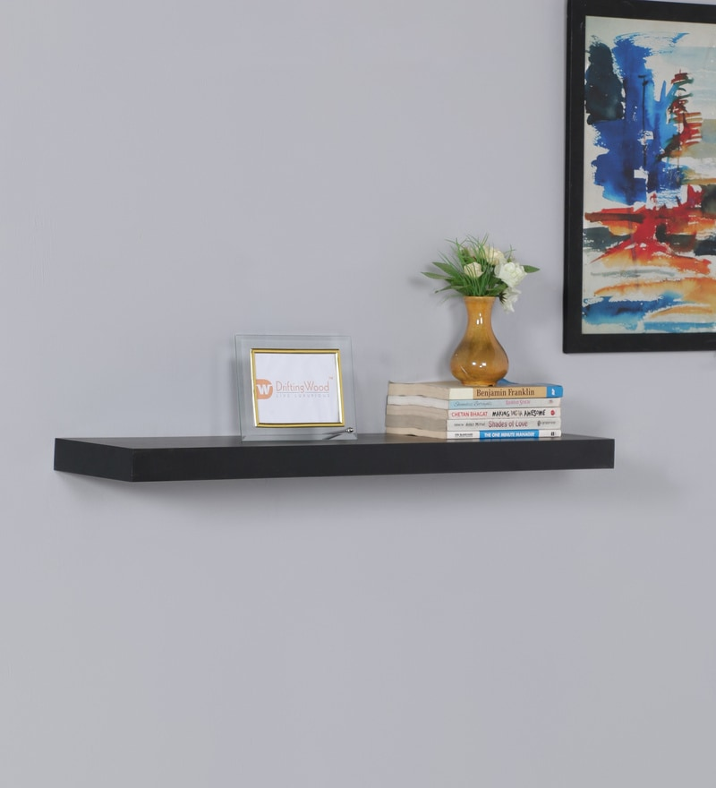 Wenge MDF Single Floating Wall Shelf by DriftingWood