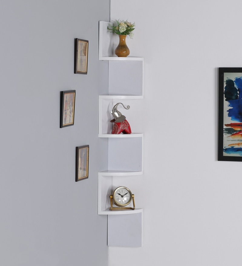 Buy White Mdf Laminated Zigzag Shape Corner Wall Shelf By