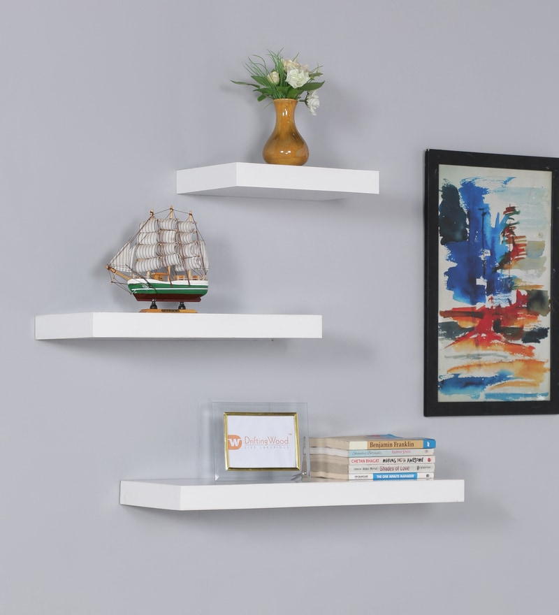 White MDF Multi Sized Floating Wall Shelf - Set of 3 by DriftingWood