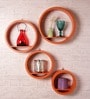 Orange MDF Round Wall Shelf - Set of 4 by Dream Arts