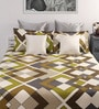 Dreamscape Multicolour Cotton Geometric Queen Bed Sheet (with 2 Pillow Covers)-Set of 3