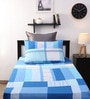 Dreamscape Blue Cotton Printed Single Bed Sheet (with One Pillow Cover)-Set of 2